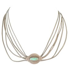 Sterling Wheat Chains and Turquoise Slider-Medallion Necklace