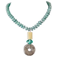 "Aventurine ""Melon"" Beads with Green Labradorite Pendant Artisan Necklace"