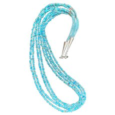 "27"" Southwestern-Style Four-Strand Sleeping Beauty Turquoise, Seed Beads, and Sterling Necklace"