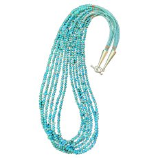 Southwestern-Style 6-Strand Sleeping Beauty Turquoise, Seed Beads, and Sterling Necklace