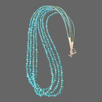 "4-Strand 23"" Vintage Sleeping Beauty Turquoise Tailings Necklace"