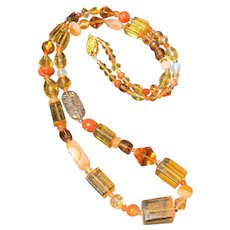 Luxury Necklace of Vintage Amber-Glass with Carnelians and Deco Crystals