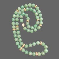 "Natural Jadeite with 14K Gold Accents 33"" Necklace"
