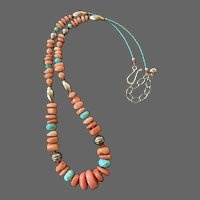 South Pacific Baroque Pink Corals with Chinese Turquoise and Navajo Pearls