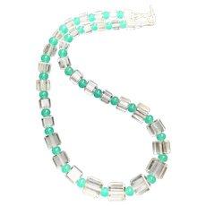 Restrung Art Deco Crystal Cubes, Green Glass Rounds Choker