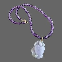Vintage Lavender Jade Carved Turtle on Lily Pad Pendant on Amethyst Choker, 14K Gold Findings,