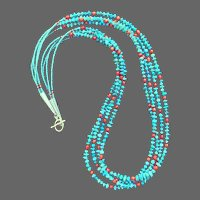 4-Strand Sleeping Beauty Tailings Beads with Victorian Coral Beads Necklace
