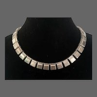 Mexican Art Deco Sterling Connected Hollow Squares Necklace