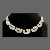 Mexican Solid Sterling Link Deco-Style Choker