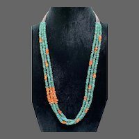Vintage Navajo 3-Strand Squaw Necklace of Natural Turquoise, Spiny Oyster Shell, and Shell Heishe