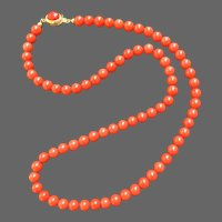 Estate Very Fine Red Mediterranean Coral Necklace with 18K Gold Clasp