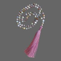 Superb Botswana Agate Mala Necklace with Chinese Silk Tassel