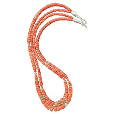 Artisan Double Strand Vintage and Antique Corals with Turquoise Necklace