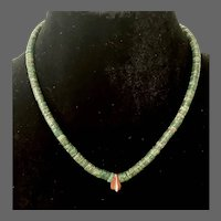 Antique Early American Natural Turquoise Heishi Necklace
