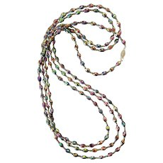 Artisan-Strung Vintage Peacock Carnival Glass Beads Flapper Necklace