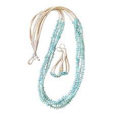 SET: Artisan Southwestern-Style Howlite & Sleeping Beauty Turquoise Necklace, Matching Earrings