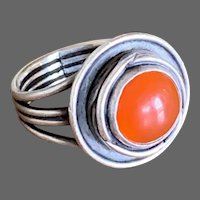 Hand-Crafted Modern Carnelian and Sterling Ring