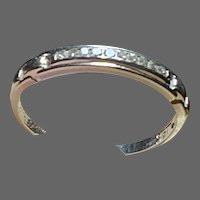 Tiny Diamonds in Vintage 18K White Gold Stackable Pinkie Ring