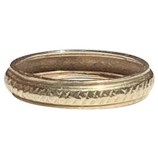 Antique 14K Gold Wedding Band with Chased Cross Hatching