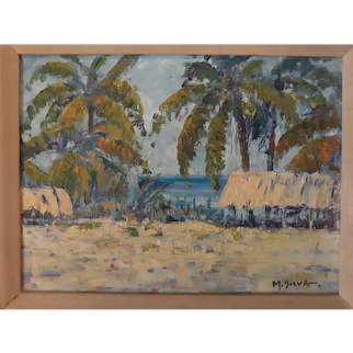Hawaii artist M. ( Mary) Silva oil painting
