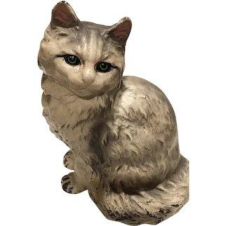 Hubley Cast Iron Cat Door Stop Persian Cat