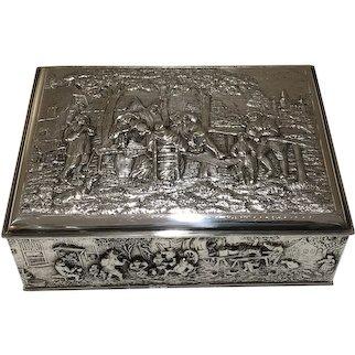 Herbert Hooijkaas Silver Plated Repousse Cigar Box Trinket Box