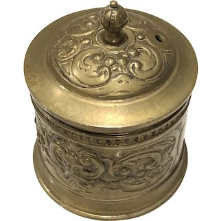 Antique Brass Embossed Figural String Box Holder Lidded Jar Container Germany
