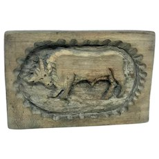 Cow Bull Folk Art Speculaas Springerle Cookie or Butter Mold Antique german