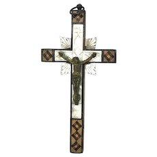 Beautiful Wood Carved Crucifix antique german Folk Art 1900's