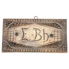 Beautiful chip carving Key Hanger Board vintage Vintage Folk Art 1900's