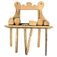 Antique German Dollhouse Doll Baking Accessories Shelf Set Tools