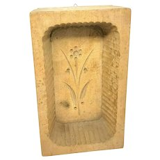 Primitive wood carved Flower Butter Mold Antique german 1890's