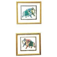 Framed Elephant Motif Asian Silk paintings Vintage Folk Art