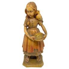 Anri Girl with Bird Wood Carved Figure Vintage Folk Art 1970's
