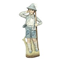 Beautiful Bisque Porcelain Figurine Lederhosen Octoberfest Boy Antique