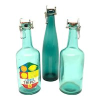 Set of 3 Vintage decorative turquoise colored Soda Bottles Sweden