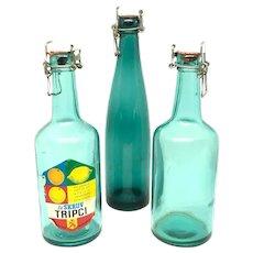Set of 3 Vintage decorative turquoise colored Soda Bottles Sweden