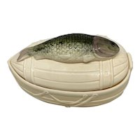vintage Ceramic Fish Tureen for Marinated Herring or Trout Dinnerware