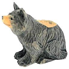 wood carved Bear Toothpick Holder Animal vintage Folk Art