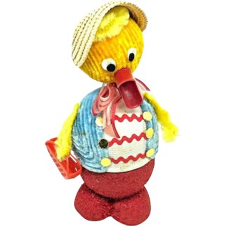 vintage Duck Easter Candy Container Bobble Head german 1960's