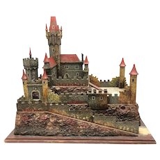 Large Wooden Castle for Elastolin Lineol Medieval Knights Figures Antique German