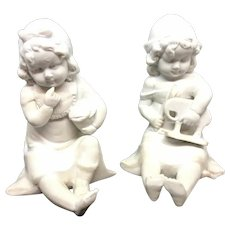 Piano Baby Girls with Toys Bisque Porcelain Hutschenreuther 1910