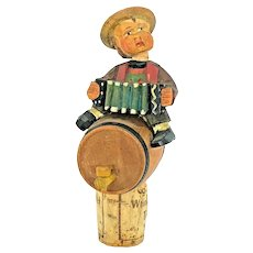 Anri Lederhosen Boy Wood Carved Figure Bottle Topper Vintage Folk Art