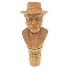 Wood Carved Black Forest Figure Bottle Topper Vintage Folk Art 1930's