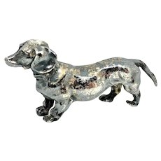 Art Nouveau Dachshund Dog Silver Plated Figurine Antique german 1910's