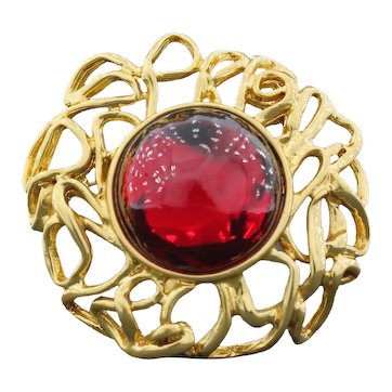 Yves Saint Laurent Red Glass Cabochon Brooch