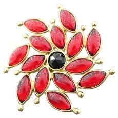 Yves Saint Laurent Red Flower Brooch