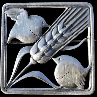 Vintage Georg Jensen / Arno Malinowski Sterling Silver Double Robin Brooch # 250
