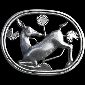 Vintage Georg Jensen / Arno Malinowski Sterling Silver Deer Brooch # 256