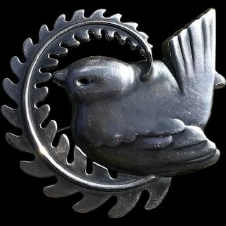 X large Georg Jensen Sterling Silver Bird with Wreath brooch # 309 #1930